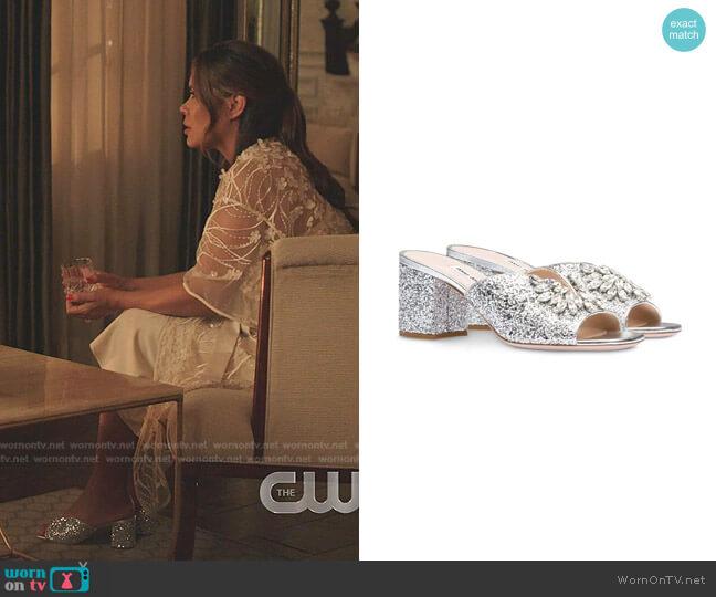 Crystal-Embellished Mule Sandals by Miu Miu  worn by Cristal Jennings (Daniella Alonso) on Dynasty