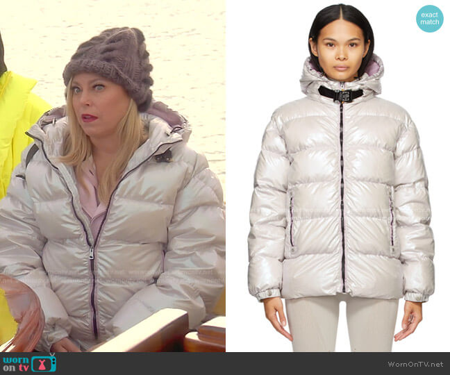 Down Iridescent Buckle Jacket by Moncler worn by Sutton Stracke  on The Real Housewives of Beverly Hills