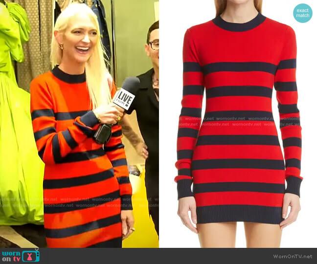 Stripe Open Back Sweater Minidress by Monse worn by Zanna Roberts Rassi on E! News Daily Pop