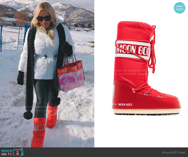 Icon logo snow boots by Moon Boot worn by Heather Gay  on The Real Housewives of Salt Lake City