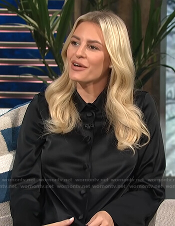 Morgan's black satin shirtdress on E! News Daily Pop