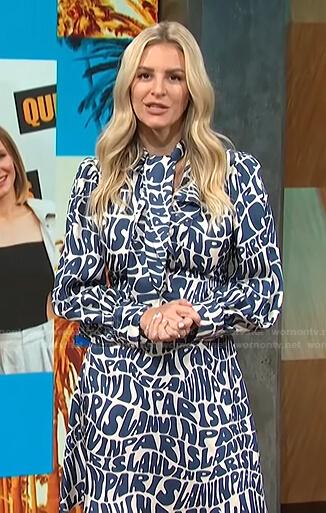Morgan's blue and white logo print dress on E! News Daily Pop
