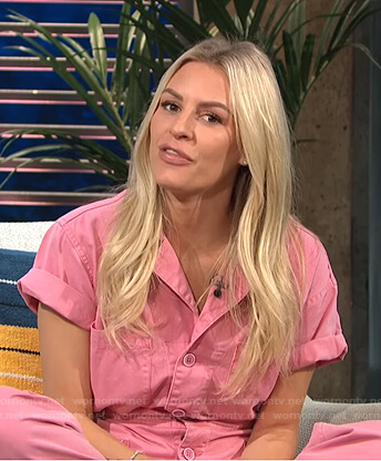 Morgan's pink short sleeve jumpsuit on E! News Daily Pop