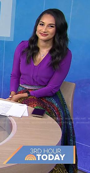 Morgan Radford's rainbow snake print skirt on Today