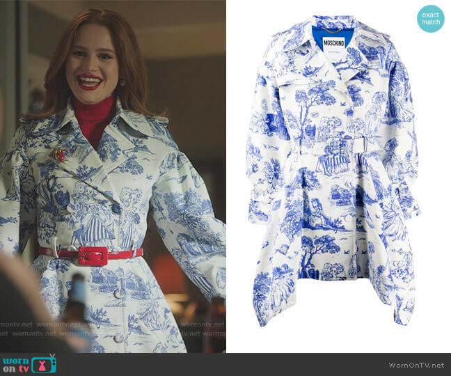 Anime Belted Coat by Moschino worn by Cheryl Blossom (Madelaine Petsch) on Riverdale