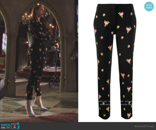 Floral Embroidery Straight-leg Trousers by Moschino worn by Cheryl Blossom (Madelaine Petsch) on Riverdale