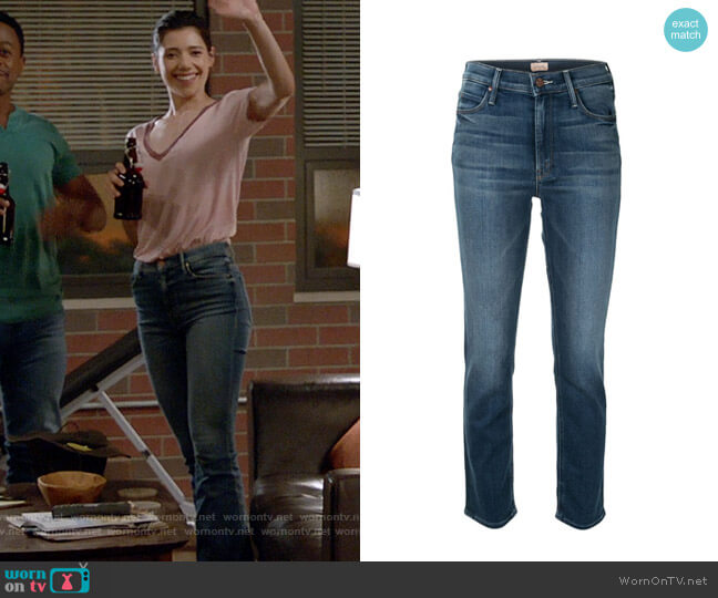 Mother Dazzler Jeans worn by Violet Mikami (Hanako Greensmith) on Chicago Fire
