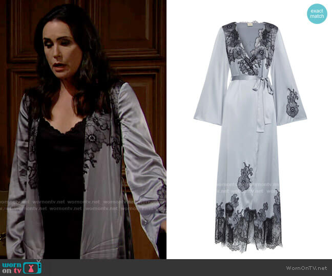 Myla Pansy Gardens Chantilly lace-paneled stretch-silk satin robe worn by Quinn Fuller (Rena Sofer) on The Bold & the Beautiful
