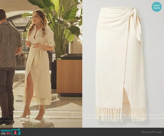 + NET SUSTAIN Randi fringed organic cotton wrap skirt by Nanushka worn by Fallon Carrington (Elizabeth Gillies) on Dynasty