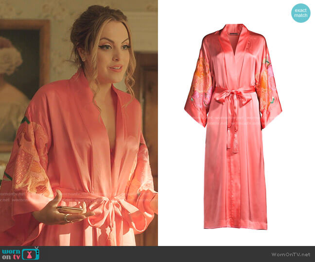 Peony Blossoms Embroidered Robe by Natori worn by Fallon Carrington (Elizabeth Gillies) on Dynasty