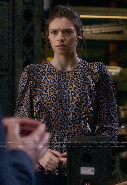 Nia's ruffled leopard print top on Supergirl