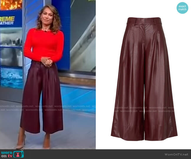 Faux Leather Sofia Culottes by Nicholas worn by Ginger Zee  on Good Morning America