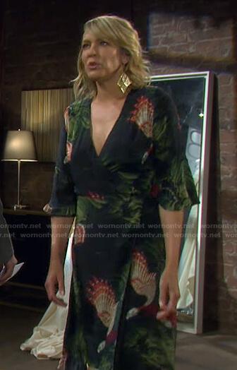 Nicole's black bird print wrap dress on Days of our Lives