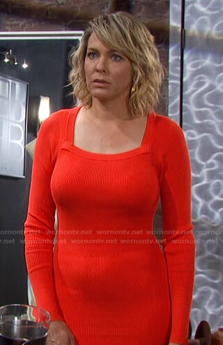 Nicole's red square neck ribbed dress on Days of our Lives