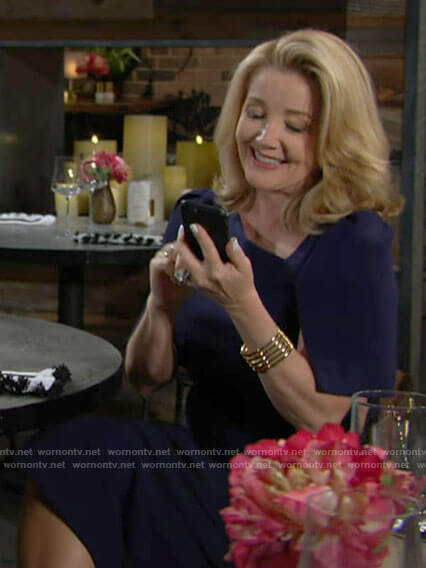 Nikki's navy asymmetric neckline dress on The Young and the Restless
