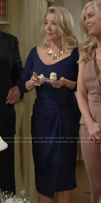 Nikki's navy twist front dress on The Young and the Restless