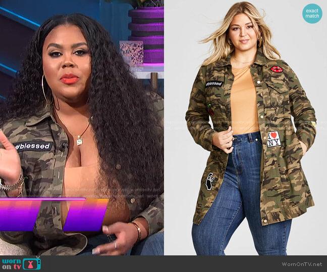 Trendy Plus Size Patched Camo-Print Jacket by Nina Parker worn by Nina Parker  on E! News