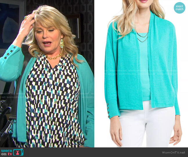 Lightweight Book Club Cardigan by Nic+Zoe worn by Bonnie Lockhart (Judi Evans) on Days of our Lives