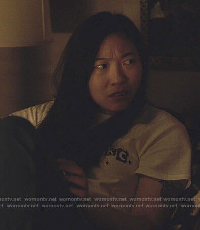 Nora's EKC t-shirt on Awkwafina is Nora From Queens