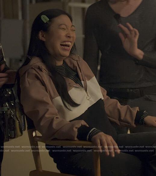 Nora's pink colorblock zip hoodie on Awkwafina is Nora From Queens