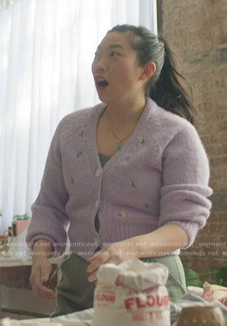 Nora's navy checked blazer on Awkwafina is Nora From Queens