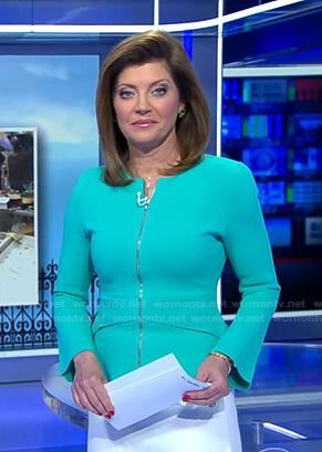 Norah's mint green peplum zip jacket on CBS Evening News