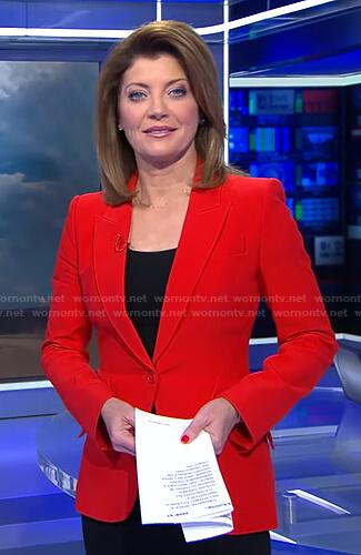 Norah's red blazer on CBS Evening News