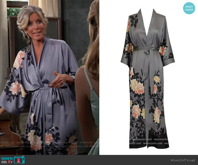 Charmeuse Kimono Robe by Old Shanghai at Amazon worn by Carly Corinthos (Laura Wright) on General Hospital
