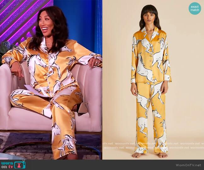 Lila Contessa Silk Pajamas by Olivia von Halle worn by Jeannie Mai  on The Real