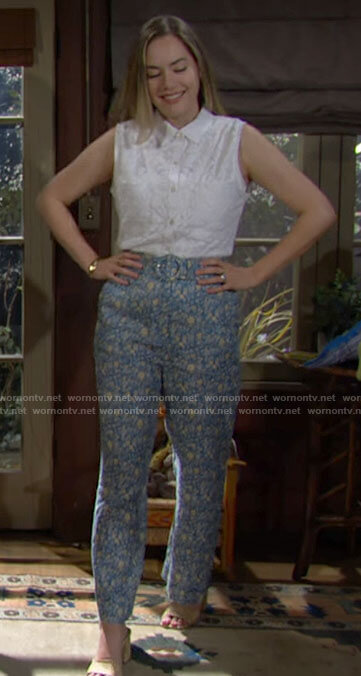 Hope's blue floral pants on The Bold and the Beautiful