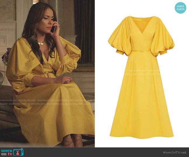 Puff-Sleeve Belted Midi Dress by Oscar de la Renta worn by Cristal Jennings (Daniella Alonso) on Dynasty