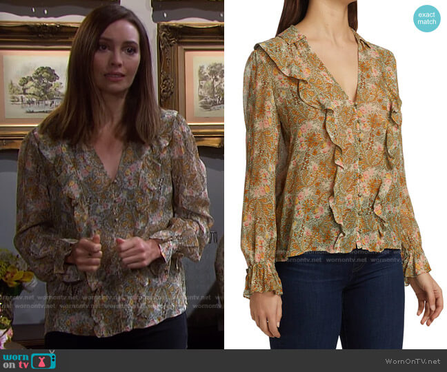 Tessa Ruffled Floral Silk Blouse by Paige worn by Gwen Rizczech (Emily O'Brien) on Days of our Lives