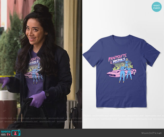 Pantsuits and Pistols Essential T-Shirt by Hillary White at Red Bubble worn by Ella Lopez (Aimee Garcia) on Lucifer