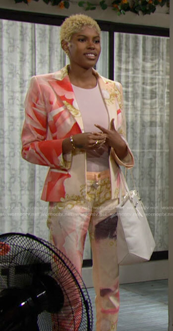 Paris's pink printed suit on The Bold and the Beautiful