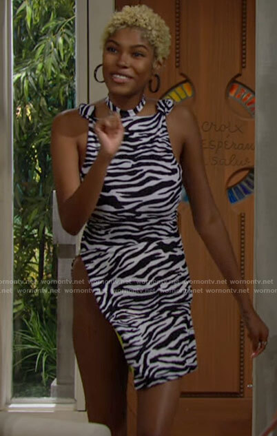 Paris's zebra print swimsuit and skirt on The Bold and the Beautiful