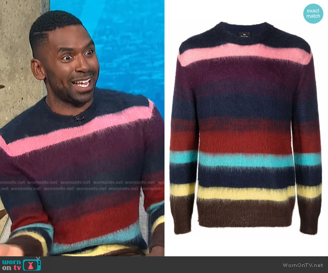 Artist-Stripe Knitted Jumper by PS Paul Smith worn by Justin Sylvester  on E! News
