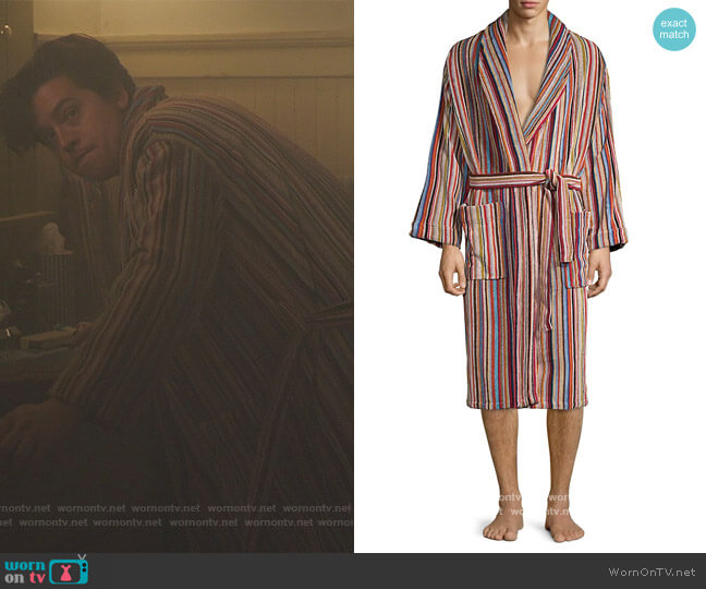 Signature stripe cotton bathrobe by Paul Smith worn by Jughead Jones (Cole Sprouse) on Riverdale