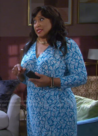 Paulina's blue printed wrap dress on Days of our Lives
