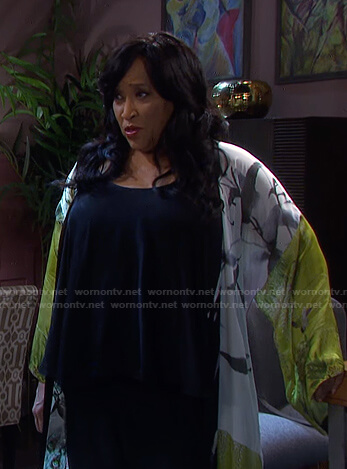 Paulina's green printed robe on Days of our Lives