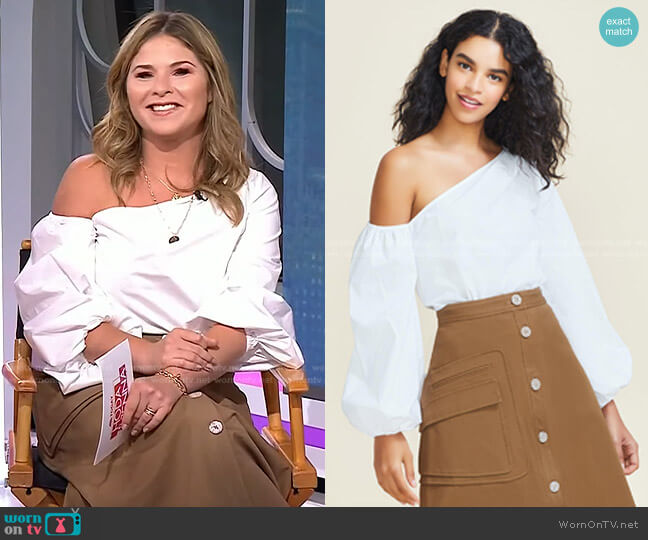 Cotton Poplin One Shoulder Top by Pearl by Lela Rose worn by Jenna Bush Hager  on Today