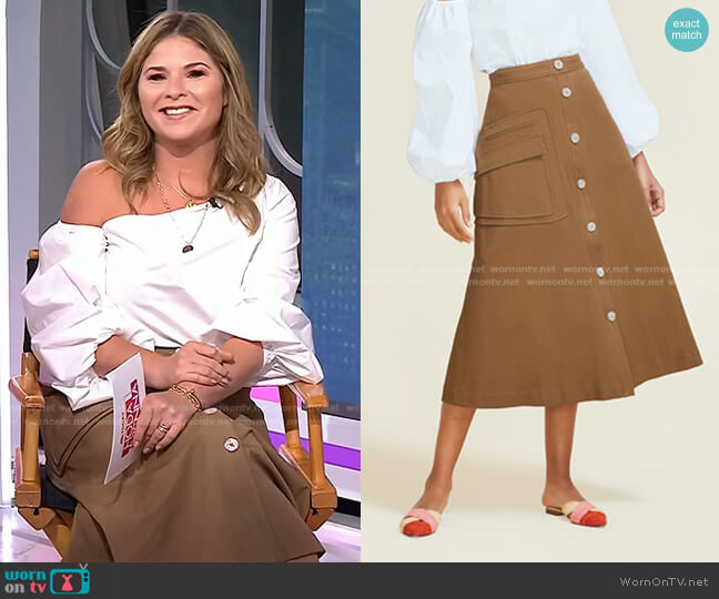 Stretch Cotton Button Front Skirt by Pearl by Lela Rose worn by Jenna Bush Hager  on Today