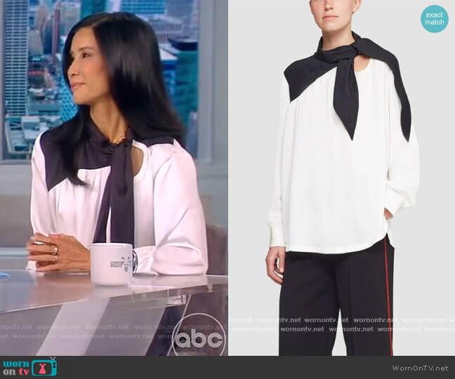 Long Sleeve Scarf Neck Blouse by Phillip Lim 3.1 worn by Lisa Ling on The View