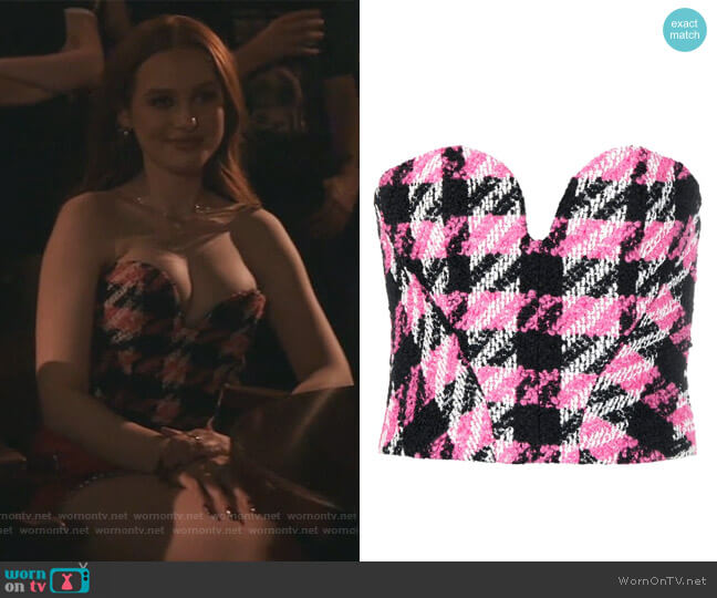 Check Boucle Corset Top by Philosophy Di Lorenzo Serafini worn by Cheryl Blossom (Madelaine Petsch) on Riverdale