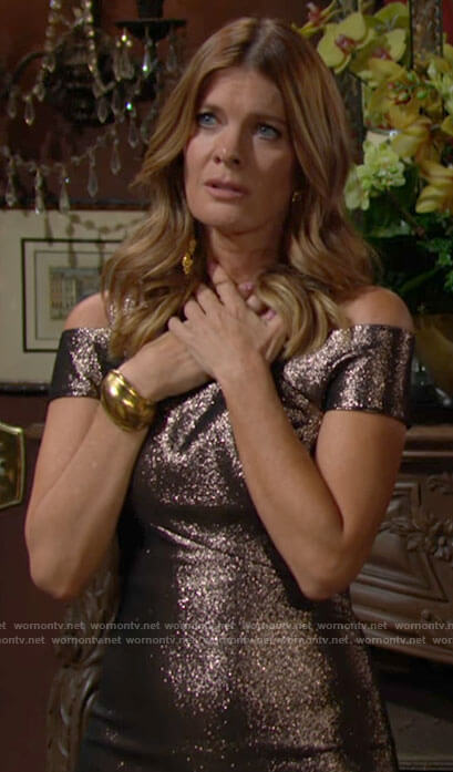 Phyllis's metallic asymmetric shoulder dress on The Young and the Restless