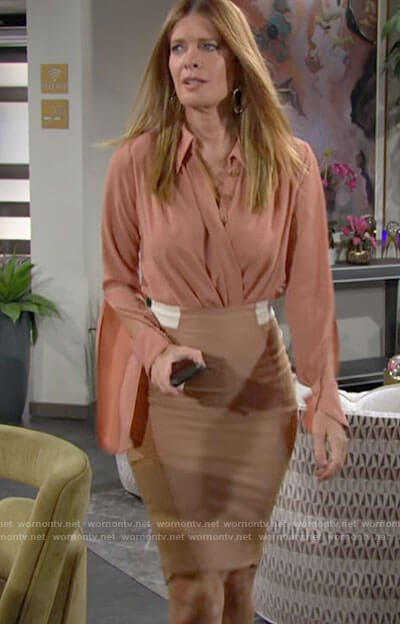 Phyllis's wrap blouse and pencil skirt on The Young and the Restless