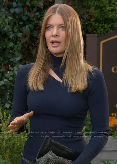 Phyllis's navy blue turtleneck with cutout on The Young and the Restless
