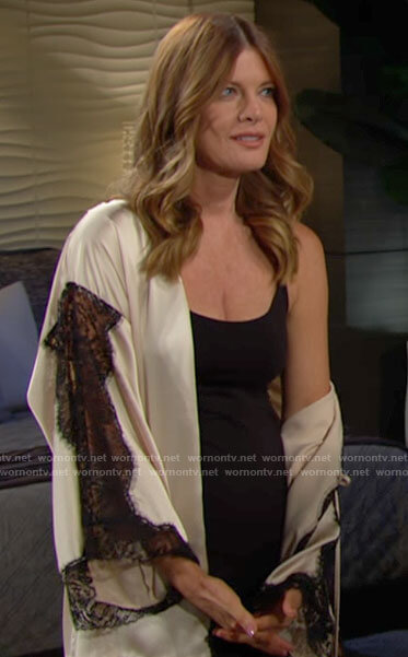 Phyllis's cream robe with black lace on The Young and the Restless