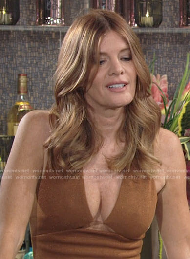 Phyllis's tan cutout plunge neck dress on The Young and the Restless