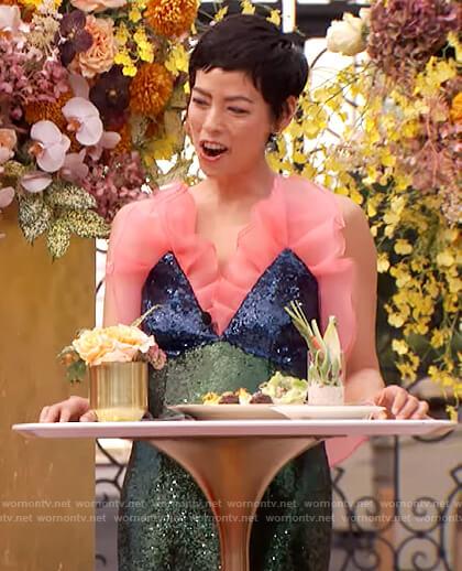 Pilar Valde's green embellished gown on The Drew Barrymore Show
