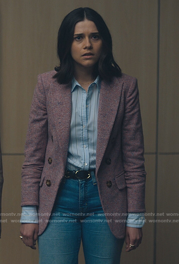 Liz's pink marled blazer on Billions